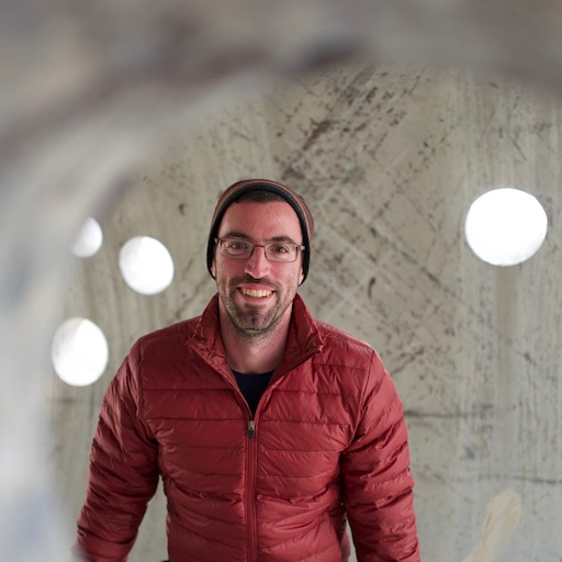 Picture of Lee Butterman at one of N Holt's Sun Tunnels in Lucin Utah in 2017